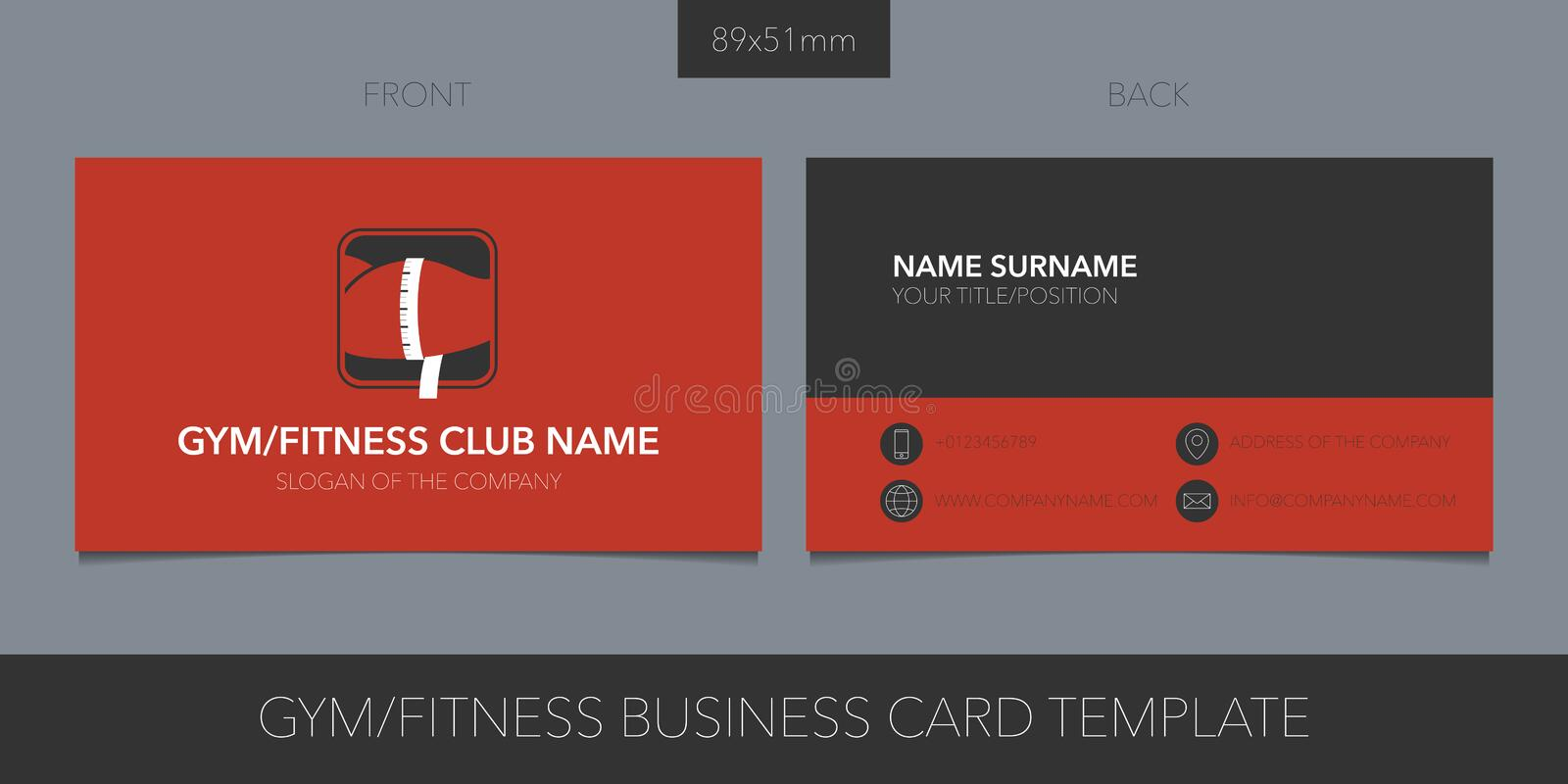 Gym, sport club vector business card with logo, icon and contact details. Fitness card with muscle and measure stock illustration