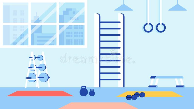 Gym and Sport Equipment for Training Blue Interior stock illustration