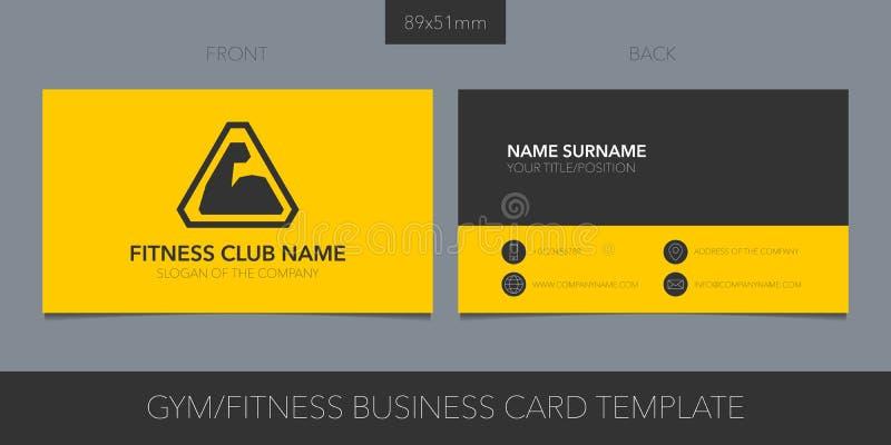 Gym, sporta klubu wektorowy wizytówka z układ logo, ikony i szablonu korporacyjnymi szczegółami, royalty ilustracja