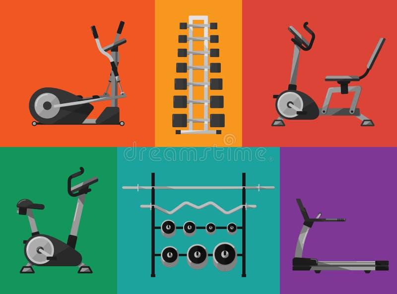 Gym sports equipment icons set. royalty free illustration