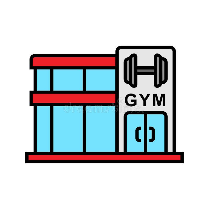 Gym sprawności fizycznej centrum ikona bodybuilder miejsca ilustracja z dumbbell symbolem prosta grafika royalty ilustracja