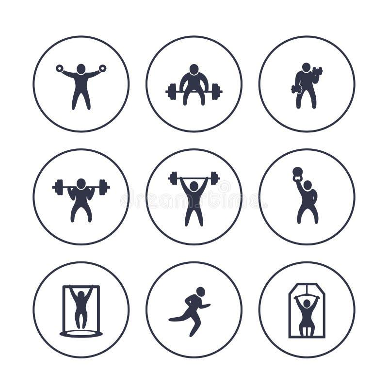 Gym, sprawność fizyczna ćwiczy ikony w okręgach nad bielem ilustracji
