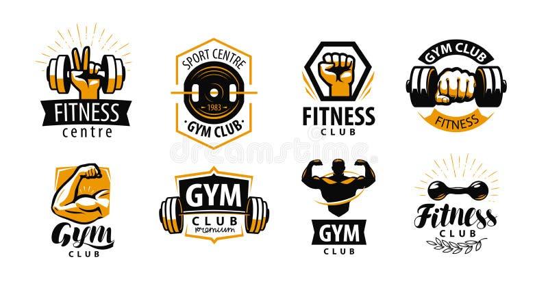 Gym, sprawność fizyczna logo lub etykietka, Sport, bodybuilding pojęcie również zwrócić corel ilustracji wektora royalty ilustracja
