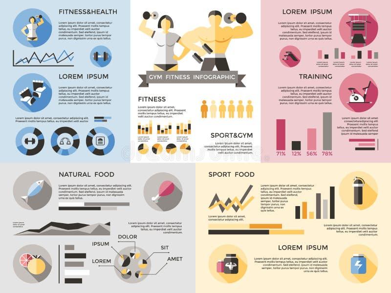 Gym sprawności fizycznej Infographics set ilustracja wektor