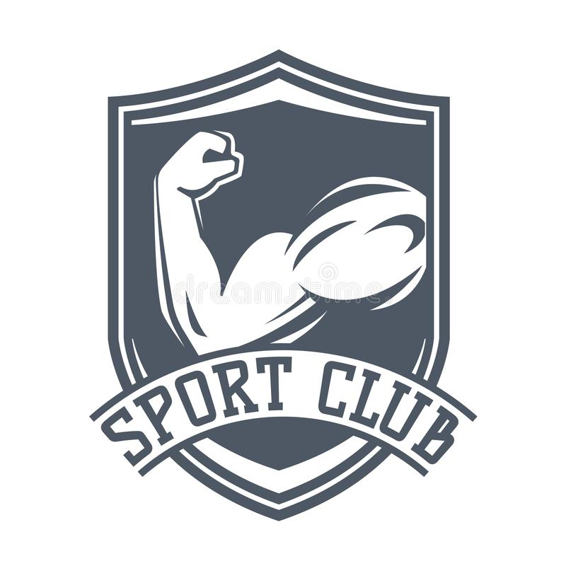 Gym sprawności fizycznej loga wektoru odznaka royalty ilustracja