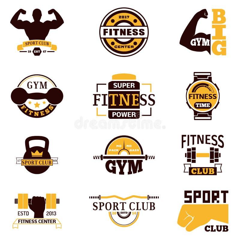 Gym sprawności fizycznej loga wektoru odznaka ilustracja wektor