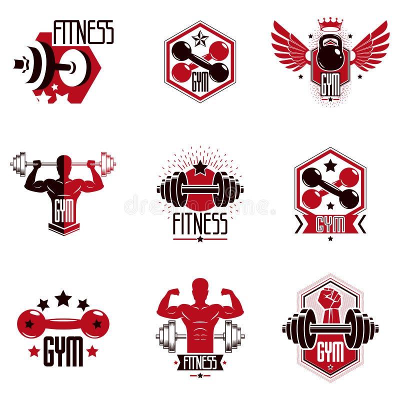 Gym sprawno?ci fizycznej i weightlifting sporta klubu logo ilustracji