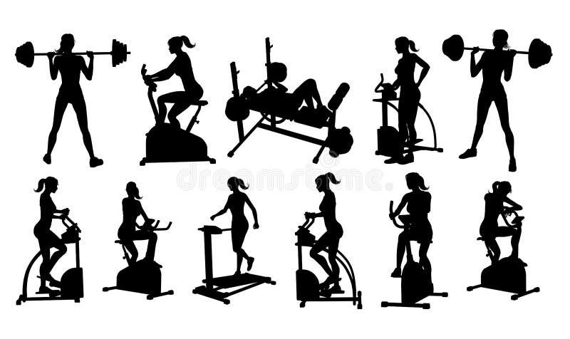 Gym sprawno?ci fizycznej wyposa?enia kobiety sylwetki Ustawia? royalty ilustracja