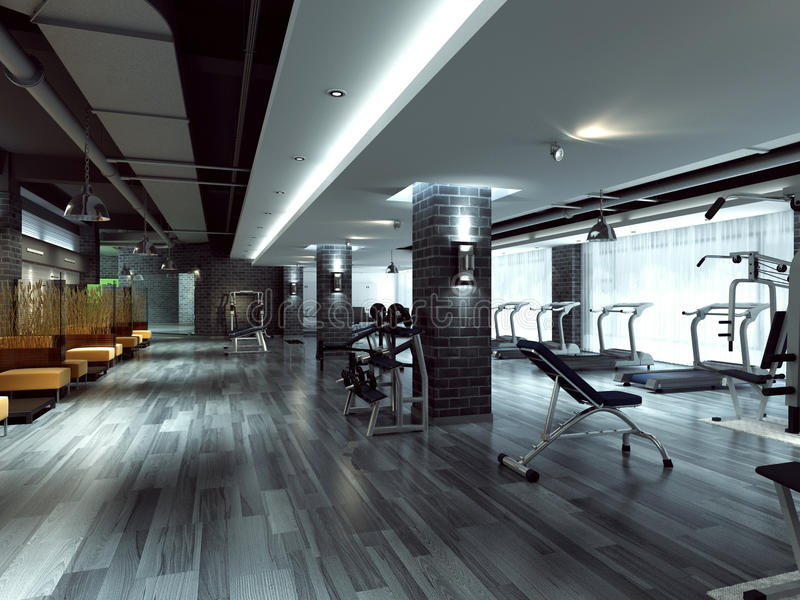 Gym and stationary equipment royalty free stock images