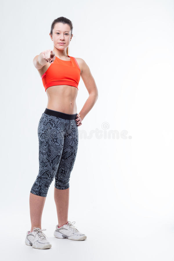 Download Gym Trainer Calling You To Action Stock Photo - Image: 83710899