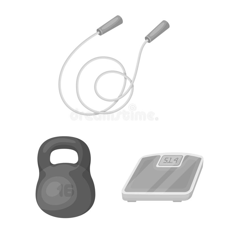 Gym and training monochrome icons in set collection for design. Gym and equipment vector symbol stock web illustration. royalty free illustration