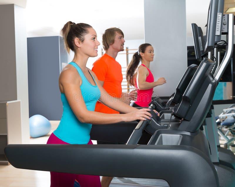 Gym treadmill group running indoor stock image