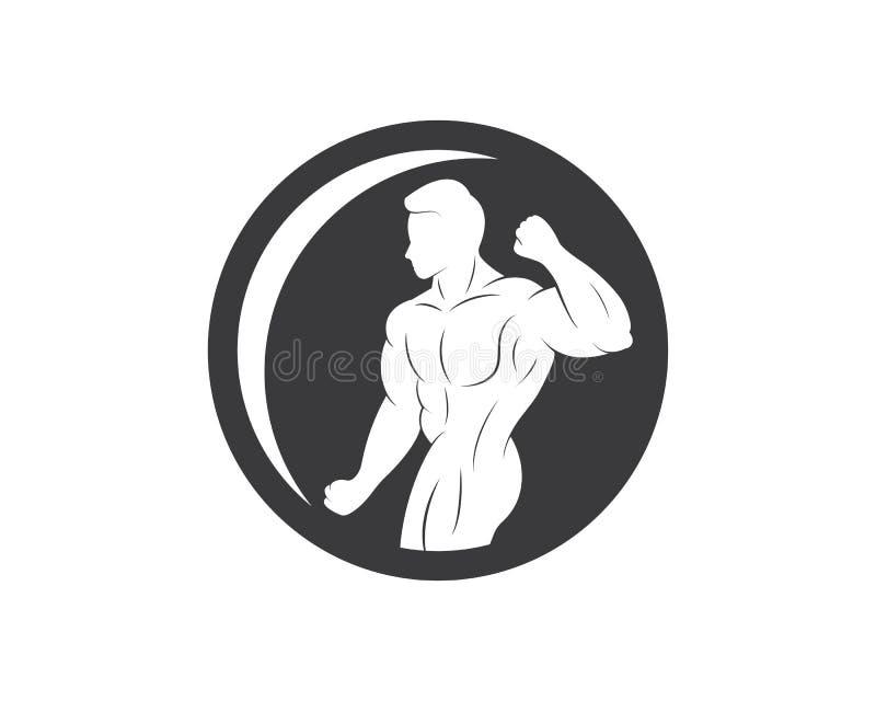 gym, vetor do molde da ilustração do logotipo do ícone da aptidão ilustração stock