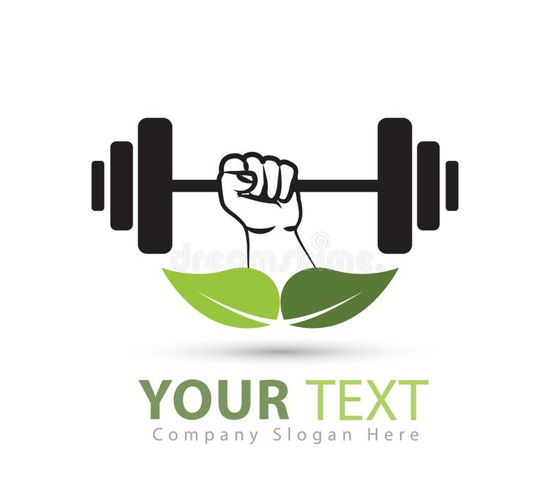 Gym weightlifting and fitness logo with green leaf vector logo, retro stylized vector logo royalty free illustration