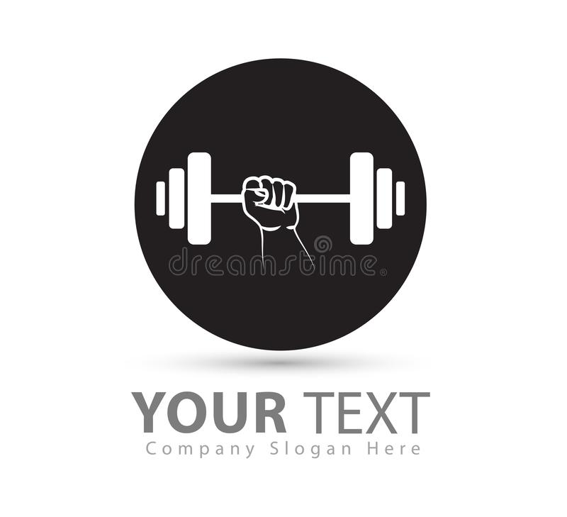 Gym weightlifting and fitness sport club with hand black vector logo, retro stylized vector logo royalty free illustration