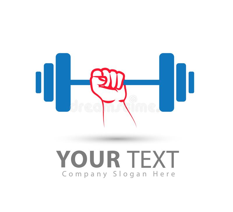 Gym weightlifting and fitness sport club with hand blue, red vector logo, retro stylized vector logo vector illustration