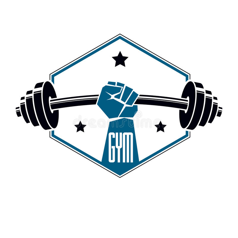 Gym weightlifting and fitness sport club logo, retro stylized vector emblem or badge. With barbell and strong hand fist. royalty free illustration