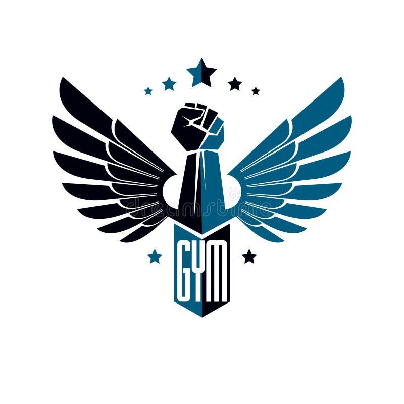 Gym weightlifting i sprawność fizyczna sporta klubu logo, retro stylowy vecto ilustracja wektor