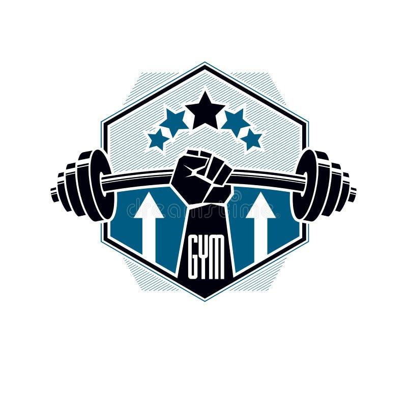 Gym weightlifting, sprawno?? fizyczna sporta klubu logo, retro stylizowany wektorowy emblemat i odznaka, ilustracji
