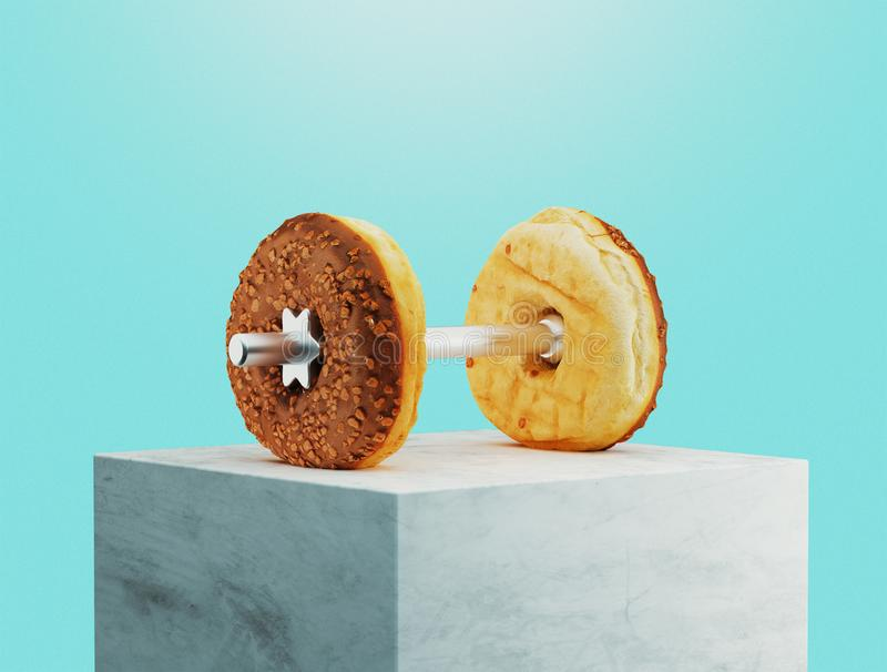 Gym weights with donuts, 3d rendering vector illustration