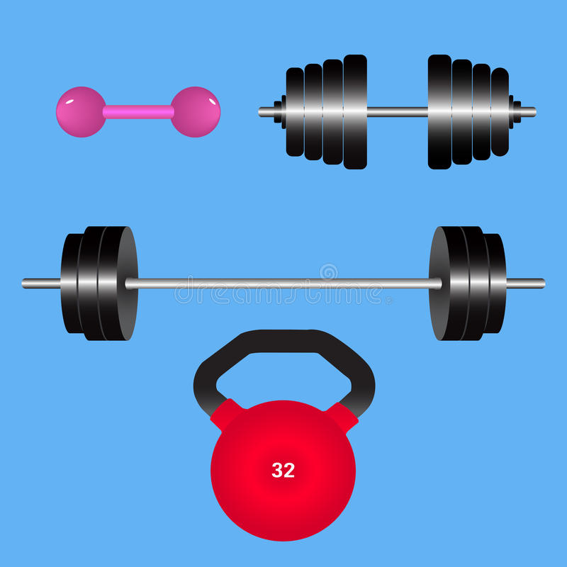 Gym weights isolated.Kettlebell, dumbbell, barbell disk. Vector illustration. stock illustration