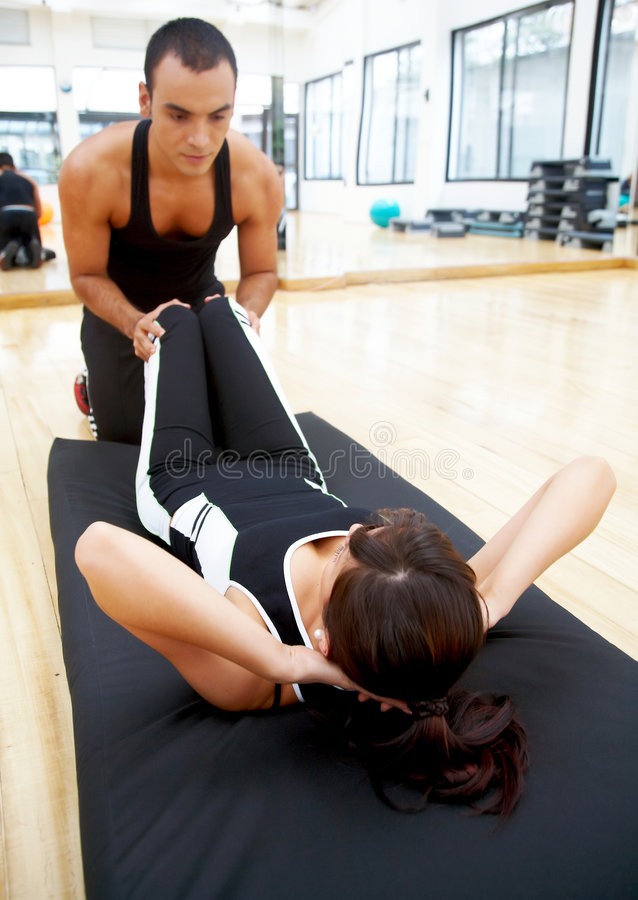 Gym woman and her trainer
