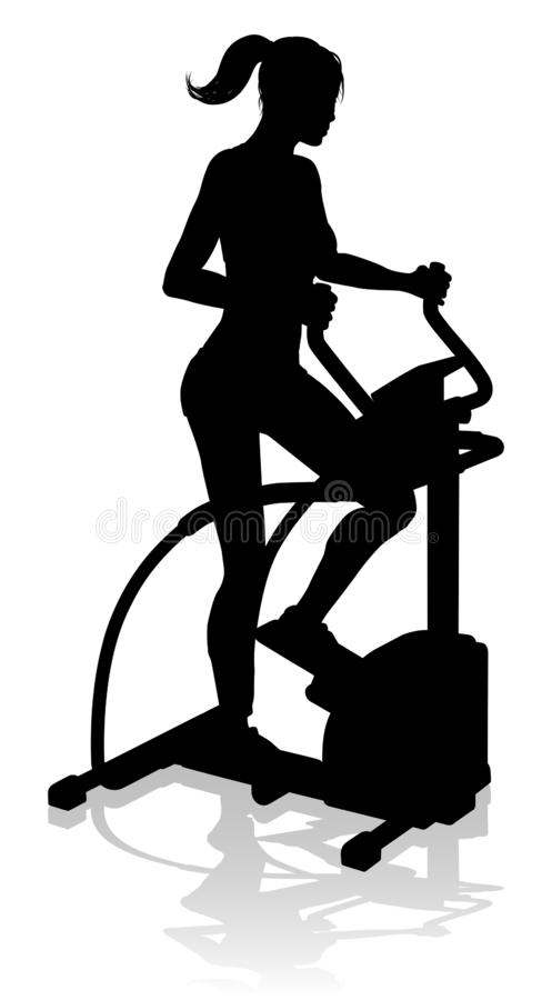 Gym Woman Silhouette Elliptical Cross Fit Machine. A woman in silhouette using an elliptical cross fit gym equipment exercise machine stock illustration