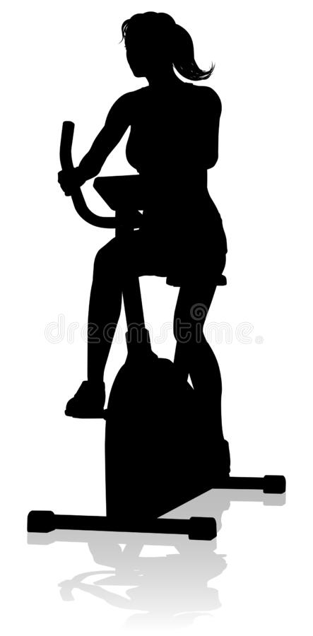 Free Gym Woman Silhouette Stationary Exercise Spin Bike Stock Images - 186715074