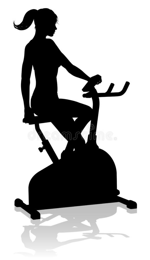Gym Woman Silhouette Stationary Exercise Spin Bike. A woman in silhouette using a stationary exercise spin bike piece of gym equipment fitness machine vector illustration