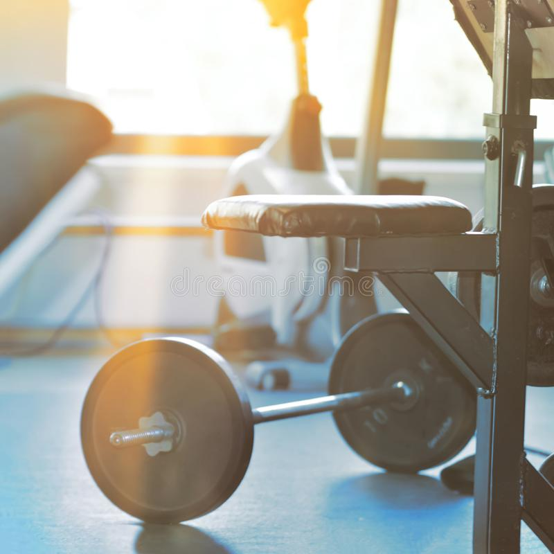 Gym Workout Equipment. Gym Equipment. Workout training and fitness gym concept stock photos