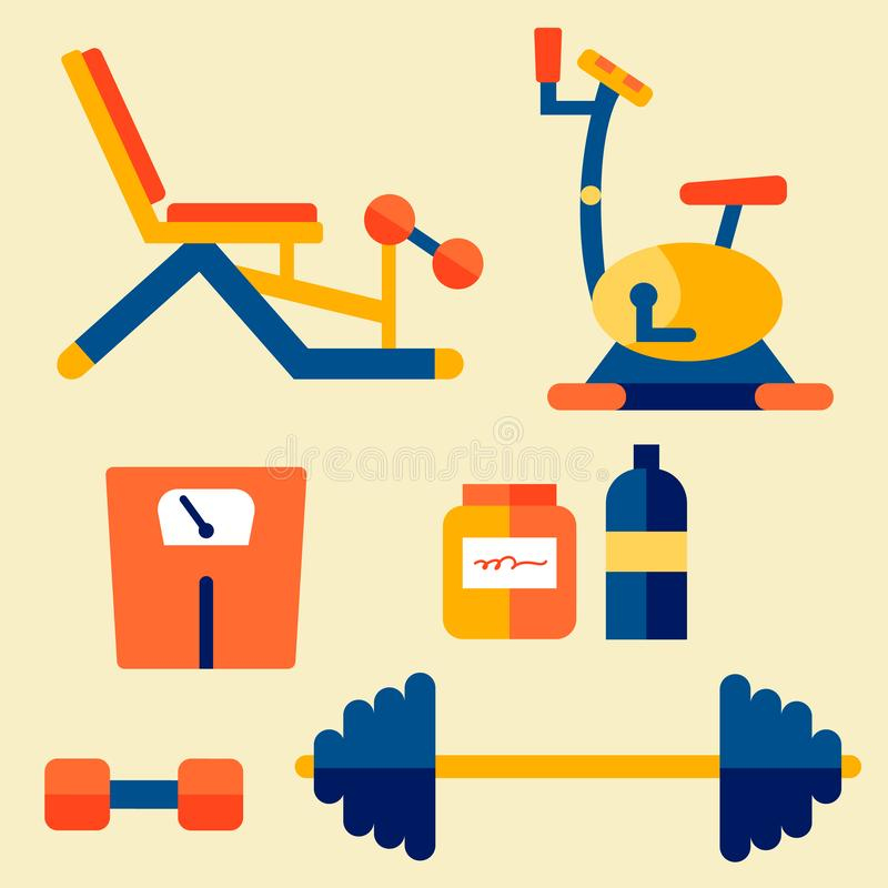Gym, Workout Equipment Vector Illustration Set. Fitness Accessories, Athletic Tools. Press Bench, Exercise Bike, Scales, Dumbbell and Barbell. Bodybuilding royalty free illustration