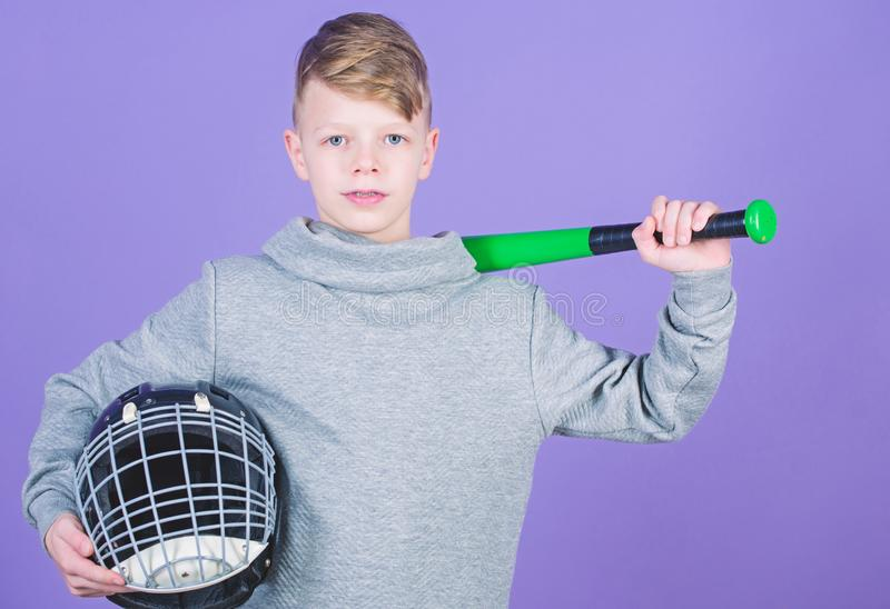 Gym workout of teen boy. Fitness diet brings health and energy. Baseball bat and helmet. Success. Childhood activity. Sport game. child sportsman. Confident stock photography