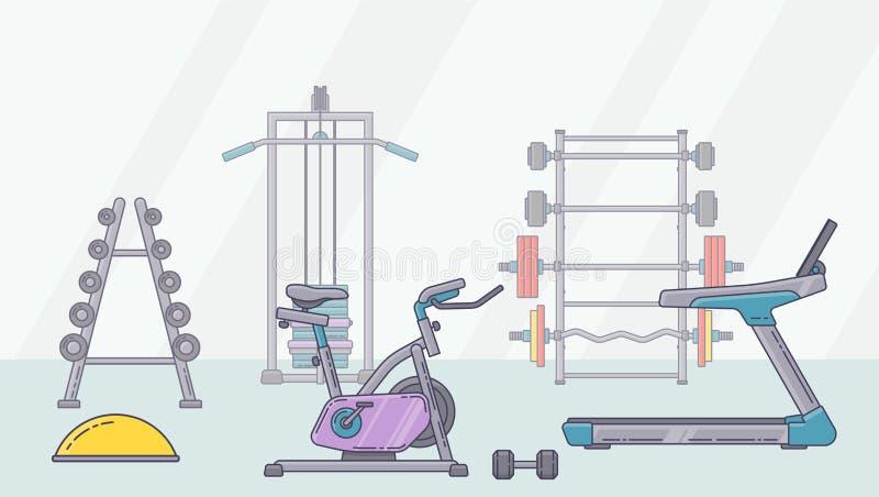 Gym wyposażenia set Różnorodni sprawności fizycznych akcesoria inkasowi Bodybuilding i crossfit equipement odizolowywający Mieszk ilustracja wektor