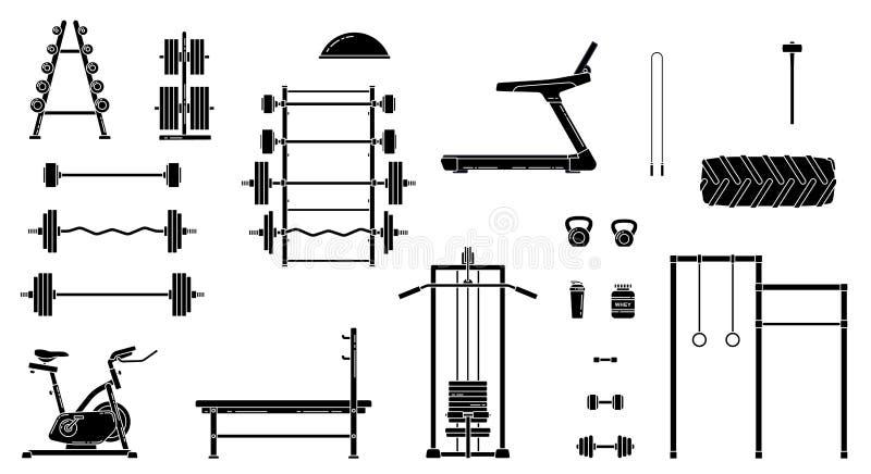 Gym wyposażenia set Różnorodni sprawności fizycznych akcesoria inkasowi Bodybuilding i crossfit equipement odizolowywający Mieszk royalty ilustracja