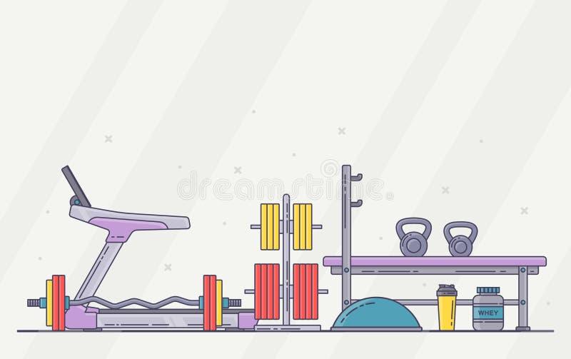 Gym wyposażenia set Różnorodni sprawności fizycznych akcesoria inkasowi Ciało budynek i crossfit wyposażenie odizolowywający Mies ilustracji