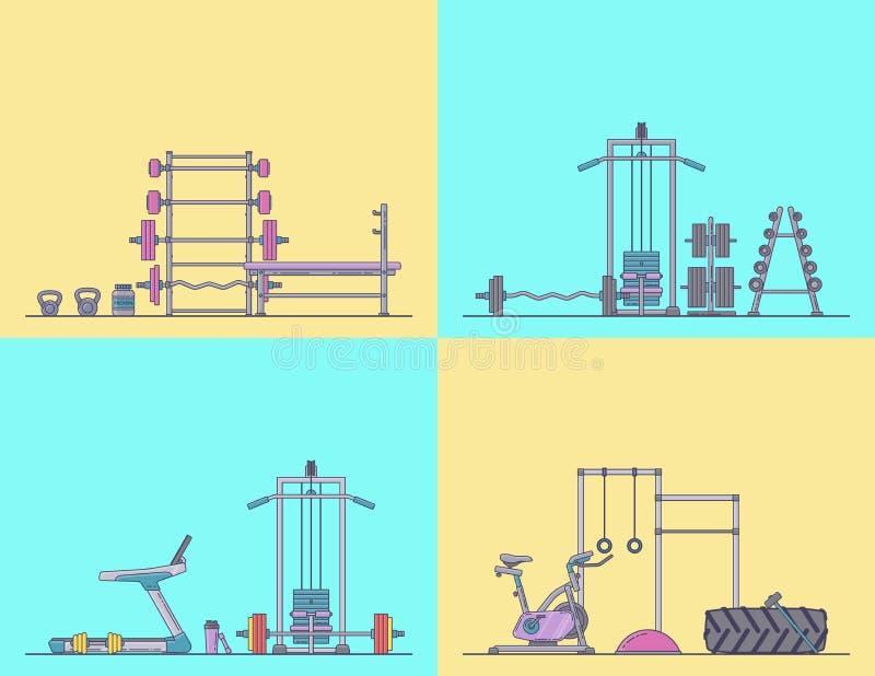 Gym wyposażenia set Różnorodni sprawności fizycznych akcesoria inkasowi Ciało budynek i crossfit wyposażenie odizolowywający Mies royalty ilustracja