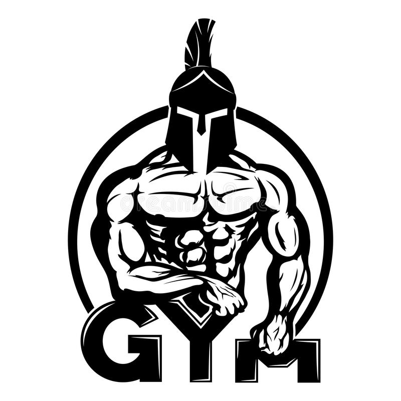 Gym znak z spartan royalty ilustracja