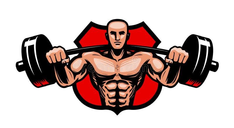 Gymnase, bodybuilding, logo de sport ou label Bodybuilder avec le barbell lourd dans des mains Illustration de vecteur illustration de vecteur
