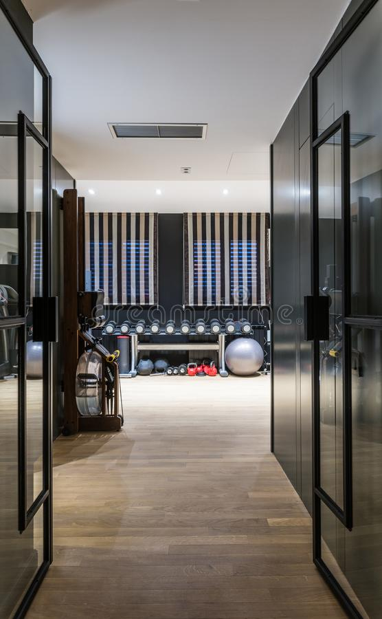 Gymnase dans un appartement de luxe d'appartement terrasse image libre de droits