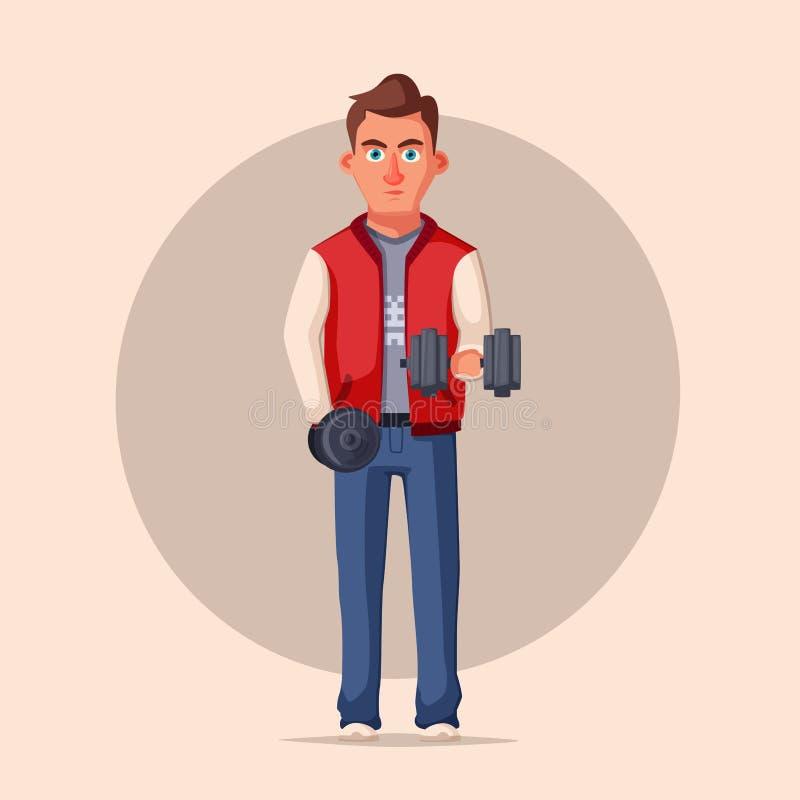 Gymnase de pompage de fer de sportif Conception de personnages forte Illustration de vecteur de dessin animé illustration de vecteur