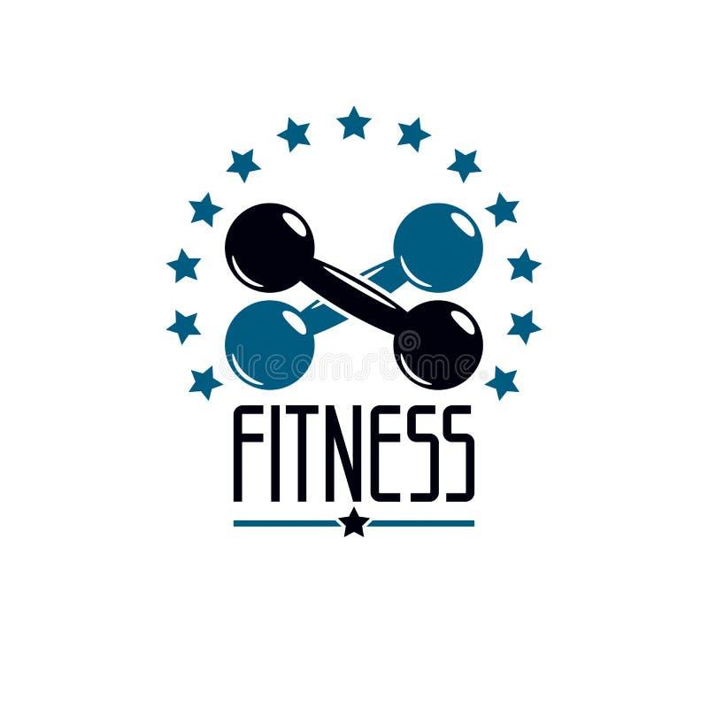 Gymnase et calibre de logo de forme physique, rétro emblème de vecteur de style Avec D illustration de vecteur