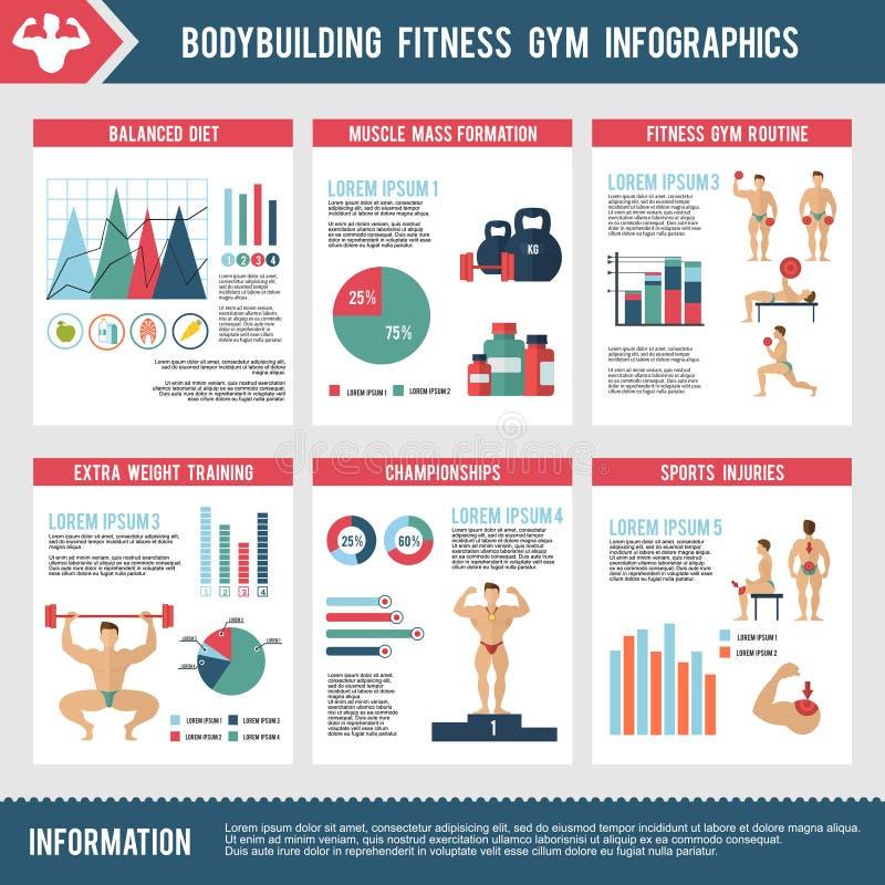 Gymnase Infographics de forme physique de bodybuilding illustration stock