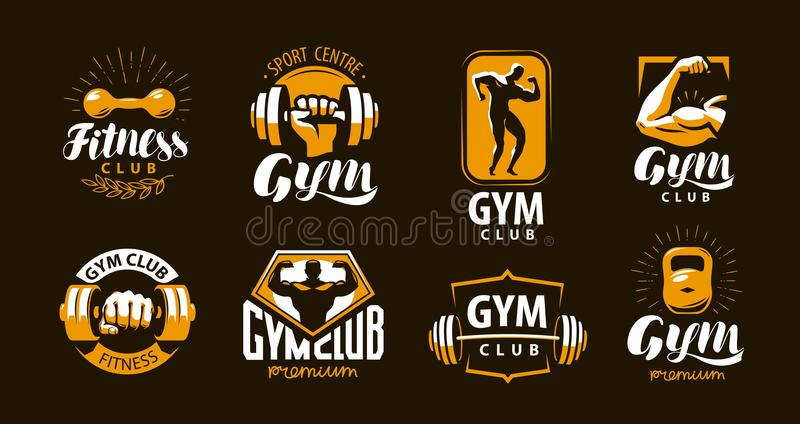 Gymnase, logo de forme physique ou label Sport, concept de bodybuilding Illustration de vecteur illustration libre de droits