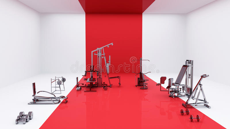 Gymnase rouge et blanc illustration libre de droits