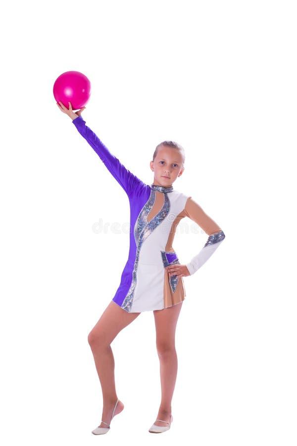 Gymnast κοριτσιών με μια σφαίρα στοκ εικόνα