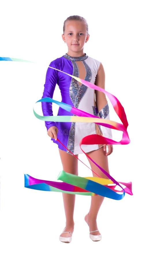 Gymnast κοριτσιών με την κορδέλλα στοκ εικόνες