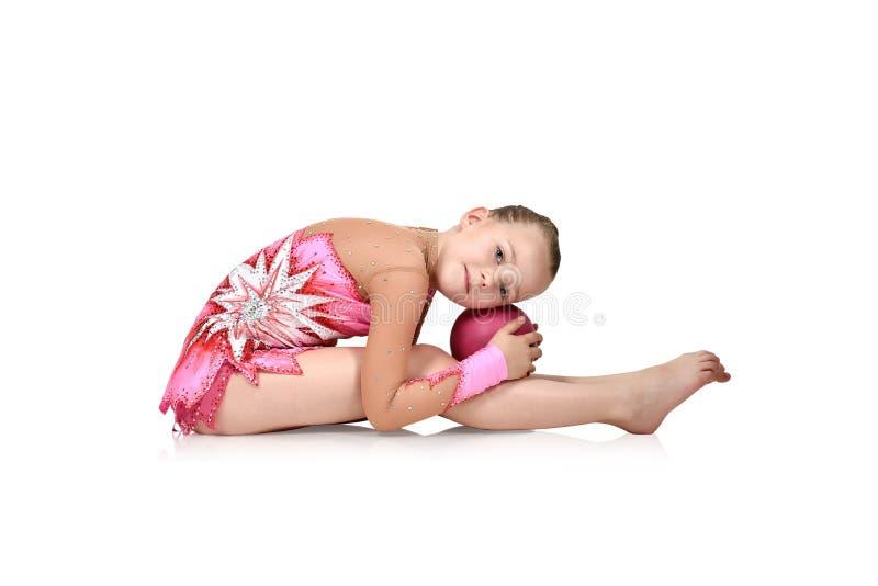 Gymnast κοριτσιών με τη σφαίρα στοκ εικόνα με δικαίωμα ελεύθερης χρήσης