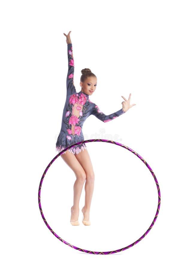 gymnast κοριτσιών χορού η στεφάνη απομόνωσε τις νεολαίες στοκ εικόνα με δικαίωμα ελεύθερης χρήσης