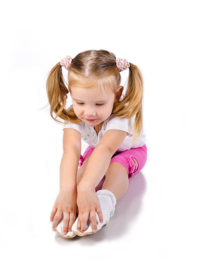 Gymnast μικρό κορίτσι που απομονώνεται χαριτωμένο στοκ εικόνα