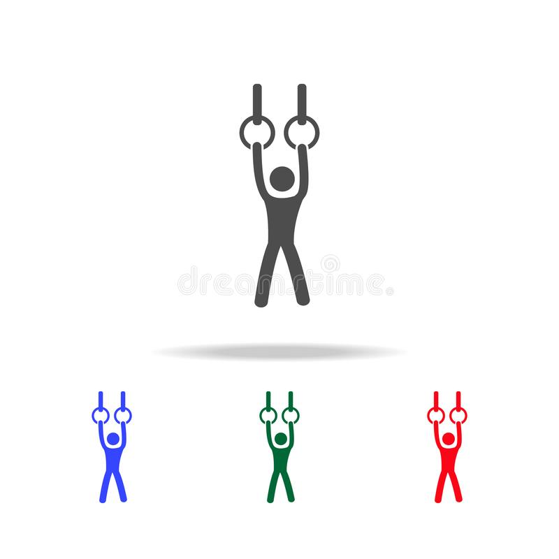 Gymnast που αποδίδει στα στάσιμα εικονίδια δαχτυλιδιών Στοιχεία του αθλητικού στοιχείου στα πολυ χρωματισμένα εικονίδια Γραφικό σ διανυσματική απεικόνιση